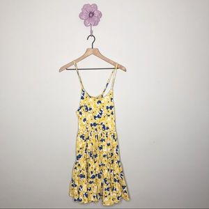 New Love Riche Blue / Yellow Floral Lace Up Dress